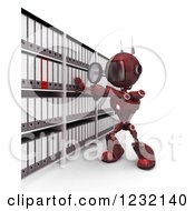 Clipart Of A 3d Red Android Robot Searching In An Archive Room Royalty Free Illustration