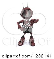 3d Red Android Robot Holding A Movie Clapper Board