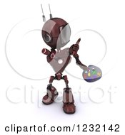 Clipart Of A 3d Red Android Robot Artist Painting Royalty Free Illustration by KJ Pargeter