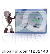 Clipart Of A 3d Red Android Robot With Drives On A Computer Window Royalty Free Illustration