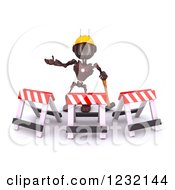 Clipart Of A 3d Red Android Construction Robot Gesturing Behind Barriers Royalty Free Illustration
