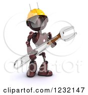 Clipart Of A 3d Red Android Construction Robot With A Spanner Wrench 4 Royalty Free Illustration
