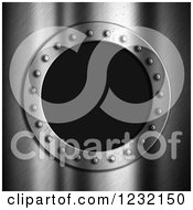Clipart Of A 3d Brushed Metal And Riveted Porthole Frame Over Black Royalty Free Illustration by KJ Pargeter