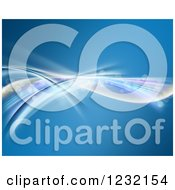 Clipart Of A Blue Background With Colorful Flowing Waves And Flares Royalty Free Illustration
