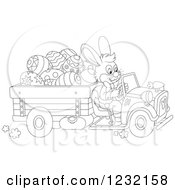 Clipart Of An Outlined Easter Bunny Driving A Truck Full Of Eggs Royalty Free Vector Illustration by Alex Bannykh