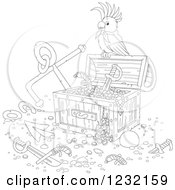 Clipart Of An Outlined Pirate Parrot On A Treasure Chest Royalty Free Vector Illustration