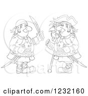 Outlined Pirate Captain And Friend