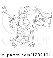 Clipart Of An Outlined Pirate Parrot Shooting A Pistol And Holding A Flag Royalty Free Vector Illustration