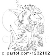 Clipart Of An Outlined Pirate Shark With Corals Royalty Free Vector Illustration