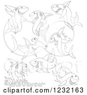 Clipart Of Outlined Sharks Royalty Free Vector Illustration by Alex Bannykh