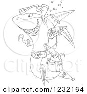Clipart Of An Outlined Pirate Shark Royalty Free Vector Illustration