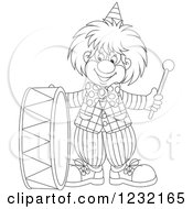 Clipart Of An Outlined Clown Playing A Drum Royalty Free Vector Illustration by Alex Bannykh