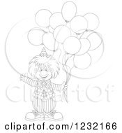 Clipart Of An Outlined Clown Waving And Holding Balloons Royalty Free Vector Illustration