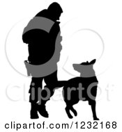 Clipart Of A Silhouetted Police Officer And K9 German Shepherd Dog Royalty Free Vector Illustration by Maria Bell