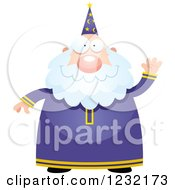 Clipart Of A Friendly Waving Male Wizard Royalty Free Vector Illustration