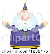 Clipart Of A Careless Shrugging Male Wizard Royalty Free Vector Illustration