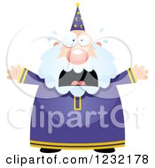 Clipart Of A Scared Screaming Male Wizard Royalty Free Vector Illustration