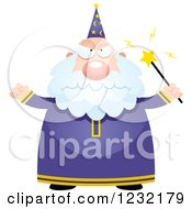 Clipart Of A Mad Male Wizard Royalty Free Vector Illustration