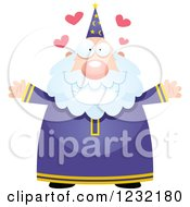 Clipart Of A Loving Male Wizard Wanting A Hug Royalty Free Vector Illustration