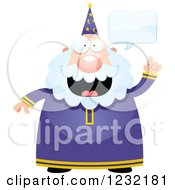 Clipart Of A Talking Male Wizard Royalty Free Vector Illustration