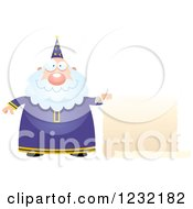 Clipart Of A Happy Male Wizard Holding A Scroll Sign Royalty Free Vector Illustration