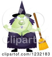Clipart Of A Mad Green Witch Royalty Free Vector Illustration