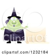 Clipart Of A Happy Green Witch With A Scroll Sign Royalty Free Vector Illustration