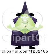 Clipart Of A Careless Shrugging Green Witch Royalty Free Vector Illustration
