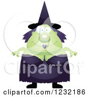Clipart Of A Happy Green Witch Royalty Free Vector Illustration