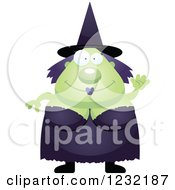 Clipart Of A Friendly Waving Green Witch Royalty Free Vector Illustration