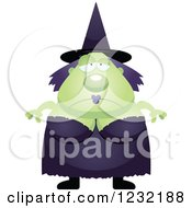 Clipart Of A Depressed Green Witch Royalty Free Vector Illustration