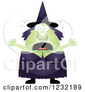 Clipart Of A Scared Screaming Green Witch Royalty Free Vector Illustration