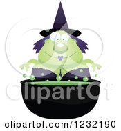 Clipart Of A Happy Green Witch Over A Cauldron Royalty Free Vector Illustration