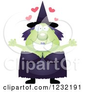 Clipart Of A Loving Green Witch Wanting A Hug Royalty Free Vector Illustration by Cory Thoman