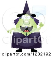 Clipart Of A Happy Talking Green Witch Royalty Free Vector Illustration