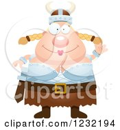 Clipart Of A Friendly Waving Blond Viking Woman Royalty Free Vector Illustration