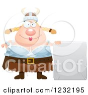 Clipart Of A Happy Blond Viking Woman With A Stone Tablet Sign Royalty Free Vector Illustration