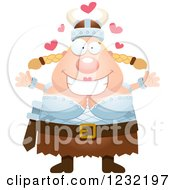Clipart Of A Loving Blond Viking Woman Wanting A Hug Royalty Free Vector Illustration