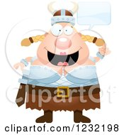Clipart Of A Happy Talking Blond Viking Woman Royalty Free Vector Illustration