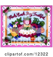 3d Make Each Day Fruitful Teapot Lady And Fruit Scene