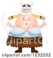 Clipart Of A Careless Shrugging Blond Viking Woman Royalty Free Vector Illustration