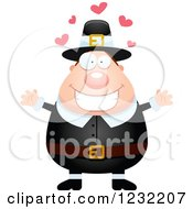Clipart Of A Loving Male Thanksgiving Pilgrim Wanting A Hug Royalty Free Vector Illustration by Cory Thoman