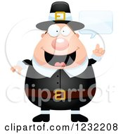 Clipart Of A Talking Male Thanksgiving Pilgrim Royalty Free Vector Illustration by Cory Thoman