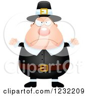 Clipart Of A Mad Male Thanksgiving Pilgrim Royalty Free Vector Illustration by Cory Thoman