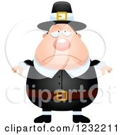 Clipart Of A Depressed Male Thanksgiving Pilgrim Royalty Free Vector Illustration by Cory Thoman