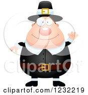 Clipart Of A Friendly Waving Male Thanksgiving Pilgrim Royalty Free Vector Illustration by Cory Thoman