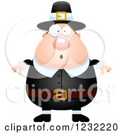 Clipart Of A Surprised Gasping Male Thanksgiving Pilgrim Royalty Free Vector Illustration by Cory Thoman
