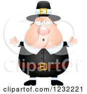Clipart Of A Careless Shrugging Male Thanksgiving Pilgrim Royalty Free Vector Illustration by Cory Thoman