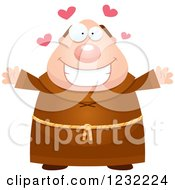 Clipart Of A Loving Monk Wanting A Hug Royalty Free Vector Illustration by Cory Thoman
