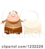 Clipart Of A Happy Monk With A Scroll Sign Royalty Free Vector Illustration
